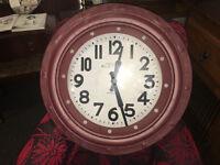 Fantastic Brand New Extra Large Deep Case Ridge Porthole Wall Clock - Burgundy