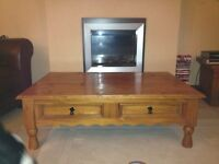 Coffee Table 4 Drawers Solid Pine ,