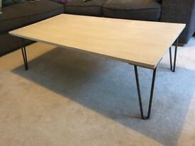 Coffee table, white stained oak with steel pin legs