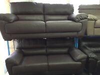 Reid Abella Brown Leather 3 Seater Sofa + 3 Seater Sofa NEW/Ex Display