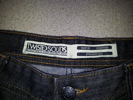 AS NEW MENS BLACK TWISTED SOUL DENIM JEANS
