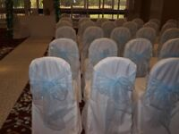 Baby blue organza chair sashes