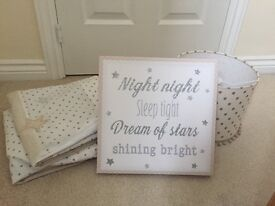 Nursery bundle (lamp shade, curtains and picture)
