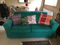 2 seater Habitat Green fabric Sofa in good condition