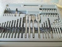 Drill Bits in fitted carrying case - mostly unused