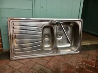 stainless steel sink unit complete with taps, good condition