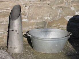 Metal coal scuttle and bath, £20