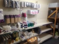 3 shop shelves with peg board & pegs