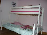Double & single bunk bed-white wooden frame with double mattress-Slumbertime miracoil