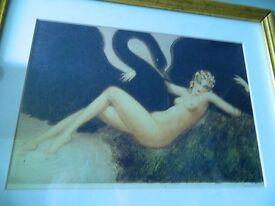 Framed Art Print 'Leda de Conte' (Leda and the Swan) by Louis Icart (1890-1950)