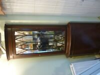 beautiful mahogany drinks corner unit,leaded glass front & light inside(180 cms by 60 cms)v/nice.