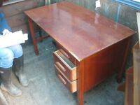 VINTAGE STURDY SOLID DESK. TOP SLIDING WRITING SHELF WITH 3 LOWER DEEP DRAWERS. VIEW/DELIVERY POSS