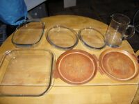 Oven dishes, Pirex and Pizza dishes, drink jar
