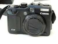Canon PowerShot G12 10.0MP Digital Camera - RAW+JPG With case + extra battery