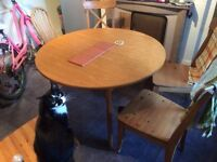 Adjustable Dining table & 4 chairs