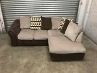 FREE DELIVERY BEIGE & BROWN FABRIC L-SHAPED CORNER SOFA