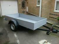 Car trailer 8ft x 4ft, heavy duty, braked.