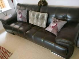 leather 3 piece suite sofa