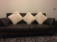 Stunning brown distressed leather 3 seater sofa with 2 armchairs & footstool.