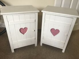 White Love Heart Bedside Tables Cabinets Bathroom