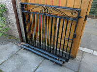 Pair of heavy duty black wrought iron Driveway gates with hinges, plus gate posts
