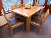 MARKS AND SPENCER SONOMA RANGE DINING ROOM TABLE AND 7 CHAIRS