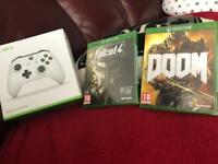 Brand new unopened Xbox controller and games