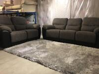 Brand new jumbo cord grey fabric/leather sofa set