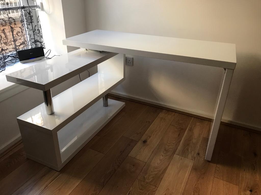 home office corner desks. White High Gloss Home Office Corner Desk Desks W