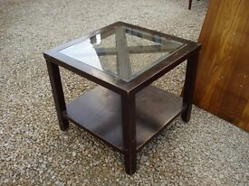 Square Dark Wood and Glass Coffee Table