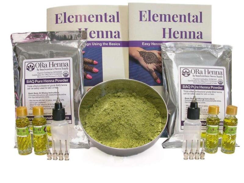 FUNDRAISER Powder Henna Kit: Applicator Bottles & Book Easy for Events Festivals