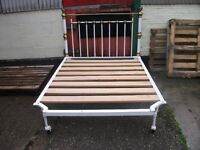 Bed double cast iron bed with headboard very heavy shabby chic delivery available
