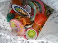 Job lot of kids' bowls plates and beakers