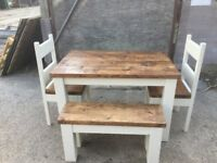Chunky rustic solid timber Table with 2 chairs and bench