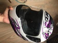 Woman motorcycle motorbike helmet