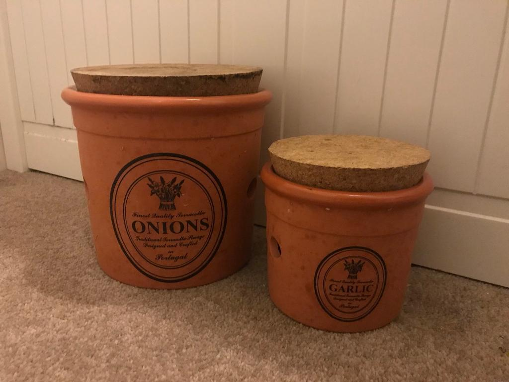 Garlic And Onion Terracotta Country Kitchen Rustic Storage Pots