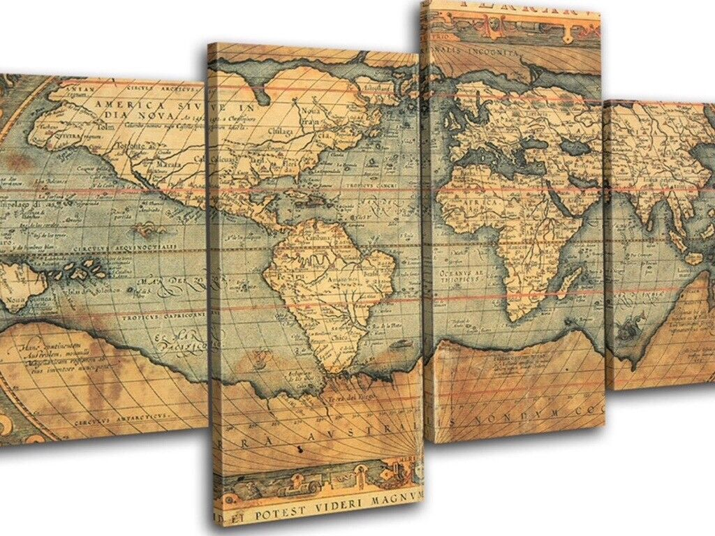 New vintage world map atlas huge canvas art print box framed picture new vintage world map atlas huge canvas art print box framed picture wall hanging in 4 gumiabroncs Gallery