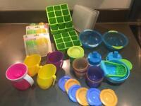 Bundle of 40+ piece baby toddler weaning plastic pots, bowls, cups