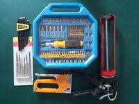 DIY tools, Screw driver sets, staple gun, silicone sealant gun, allen keys