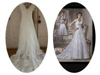 Stunning Benjamin Roberts Ivory Wedding Dress Dry Cleaned 2 parts Mermaid Bustier with Lace Overlay