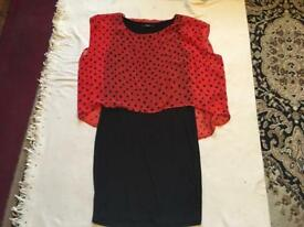 George ladies mini dress black red colour size 8 used £2
