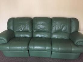 Green leather sofa and 2 chairs
