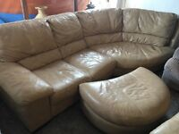 L SHAPE LEATHER IN BROWN WITH FOOT STOOL AND 2 SEATER VERY CLEAN AND COMFY