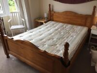 Solid pine king size bed frame and mattress