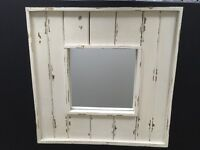 Wooden Mirror: Cream, New England-style wooden frame. Gorgeous condition.