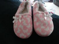 Pair of Girl's Slippers - Size 11 Pink with White Butterflies Fleece Lined VGC