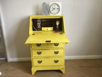 Vintage Unique Writing Desk Bureau, Painted Distressed and Waxed using Ann Sloan