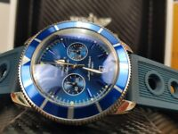 New boxed with papers blue rubber bracelet blue dial blue bezel Breitling Superocean sweeping chrono