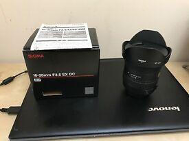 Immaculate condition Nikon fit Sigma 10-20mm F3.5 EX DC Wide Angled Lens