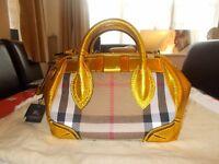 Authentic Burberry Prorsum Metallic Gold Handbag
